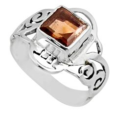 925 sterling silver 2.71cts brown smoky topaz solitaire ring size 7 r54429