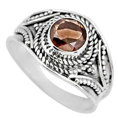 925 sterling silver 1.42cts brown smoky topaz solitaire ring size 7 r58583