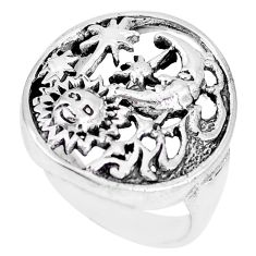 Indonesian bali style solid 925 silver crescent moon star ring size 8.5 c17068