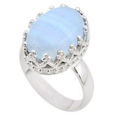 925 sterling silver 6.27cts crown natural blue lace agate ring size 6 t43364