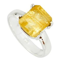925 sterling silver 4.06cts faceted golden rutile solitaire ring size 7 r19152