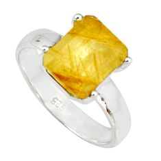 925 sterling silver 4.29cts faceted golden rutile solitaire ring size 8 r19160
