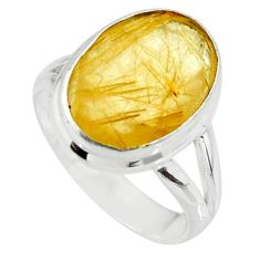 925 sterling silver 6.04cts faceted natural golden rutile ring size 6 r51309
