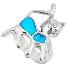 925 sterling silver 4.48gms fine blue turquoise enamel cat ring size 5.5 c12824