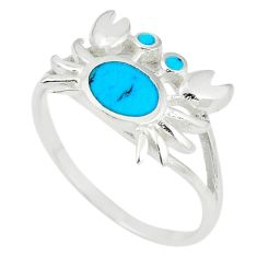 925 sterling silver fine blue turquoise enamel crab ring size 8 a67715 c13376