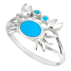 925 sterling silver fine blue turquoise enamel crab ring size 9 a66716 c13370