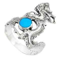 925 sterling silver 4.65gms fine blue turquoise enamel dragon ring size 9 c12635