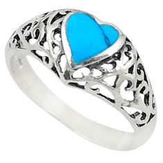 925 sterling silver fine blue turquoise enamel heart ring size 7.5 c21908