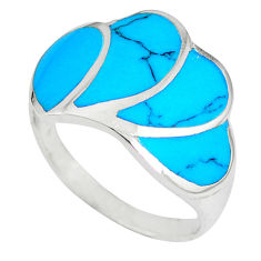 925 sterling silver fine blue turquoise enamel ring size 7.5 a41749 c13016