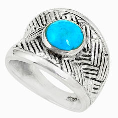 925 sterling silver fine blue turquoise enamel ring size 5.5 a80889 c13159