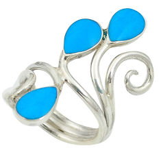 925 sterling silver fine blue turquoise enamel ring jewelry size 5.5 c11947