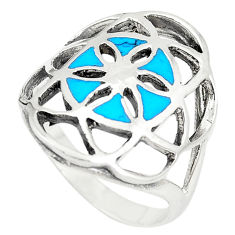 925 sterling silver fine blue turquoise enamel ring jewelry size 7.5 c12157