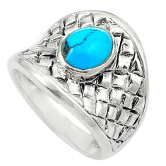 925 sterling silver fine blue turquoise enamel ring jewelry size 5.5 c12359