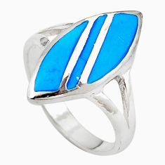 925 sterling silver fine blue turquoise enamel ring jewelry size 8.5 c12858