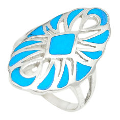 925 sterling silver fine blue turquoise enamel ring jewelry size 7.5 c12889