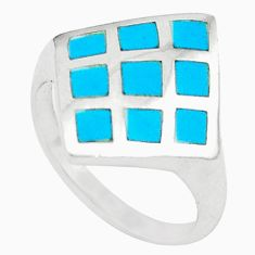 925 sterling silver fine blue turquoise enamel ring jewelry size 6.5 c21981