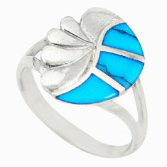 925 sterling silver fine blue turquoise enamel ring jewelry size 7.5 c21989