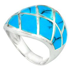 925 sterling silver fine blue turquoise enamel ring jewelry size 6 a39794 c13167
