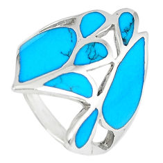 925 sterling silver fine blue turquoise enamel ring jewelry size 6 a66754 c13584