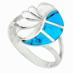 925 sterling silver fine blue turquoise enamel ring jewelry size 7 c21911