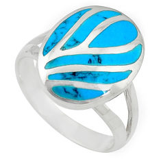 925 sterling silver fine blue turquoise enamel ring jewelry size 8 a55068 c13014