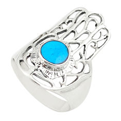 925 sterling silver fine blue turquoise hand of god hamsa ring size 6 c21654