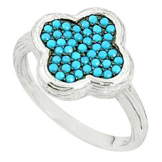 925 sterling silver fine blue turquoise round ring jewelry size 5.5 c26021