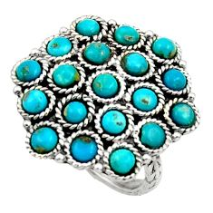 Clearance Sale- 925 sterling silver 5.63cts fine blue turquoise round ring jewelry size 7 d45840