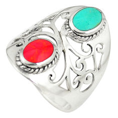 925 sterling silver fine green turquoise coral ring jewelry size 7 c12304