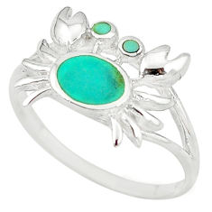 925 sterling silver fine green turquoise enamel crab ring size 8 a54997 c13379