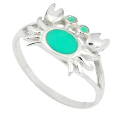 925 sterling silver fine green turquoise enamel crab ring size 9 a67720 c13378