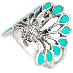 925 sterling silver fine green turquoise enamel peacock ring size 7.5 c12386