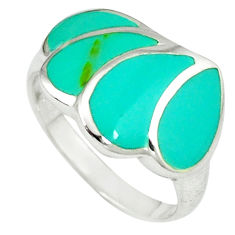 925 sterling silver fine green turquoise enamel ring size 8.5 a39946 c13350