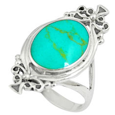 925 sterling silver 5.65gms fine green turquoise enamel ring size 7.5 c12660