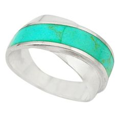 925 sterling silver fine green turquoise enamel ring jewelry size 7.5 c21988