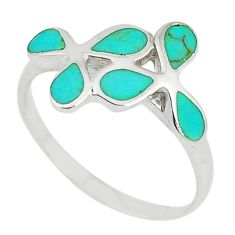 925 sterling silver fine green turquoise enamel ring size 8 a67640 c13137