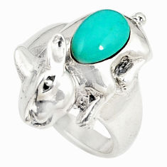 925 sterling silver fine green turquoise fancy ring jewelry size 6.5 c21672