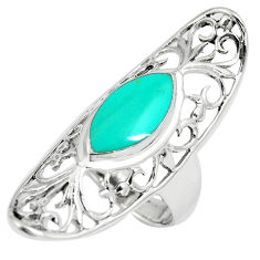 925 sterling silver 5.24cts fine green turquoise ring jewelry size 7.5 c12646