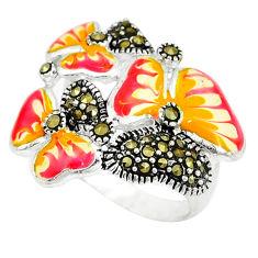 925 sterling silver fine marcasite enamel butterfly ring size 6.5 c18319