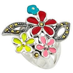 925 sterling silver fine marcasite enamel flower ring jewelry size 7.5 c15933