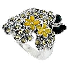 925 sterling silver fine marcasite enamel flower ring jewelry size 6.5 c20790