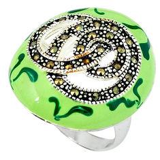 925 sterling silver fine marcasite enamel ring jewelry size 8.5 c18427