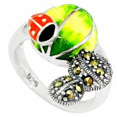 925 sterling silver fine marcasite enamel ring jewelry size 6.5 c16084