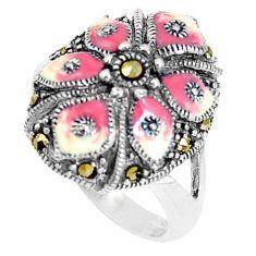 925 sterling silver 6.48gms fine marcasite enamel ring jewelry size 7.5 c21424