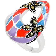 925 sterling silver 7.48gms fine marcasite enamel ring jewelry size 8.5 c21428