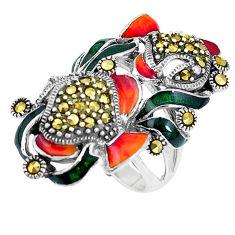 925 sterling silver 9.68gms fine marcasite enamel ring jewelry size 7 c16139