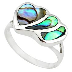 925 sterling silver green abalone paua seashell heart ring size 8 a55132 c13264