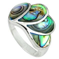 925 sterling silver green abalone paua seashell ring size 6.5 a39814 c13580