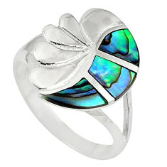 925 sterling silver green abalone paua seashell ring size 6.5 a58871 c13274