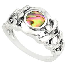 925 sterling silver green abalone paua seashell ring size 7.5 c21942